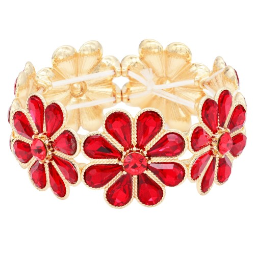 Gold Plated With Red Glass Stretch Flower Bracelets