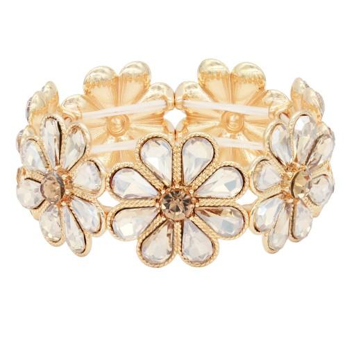 Gold Plated With Topaz Glass Stretch Flower Bracelets