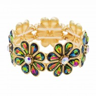 Gold Plated With Green AB Glass Stretch Flower Bracelets