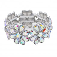 Rhoidum Plated With AB Glass Stretch Flower Bracelets