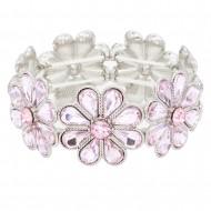 Rhoidum Plated With Pink Glass Stretch Flower Bracelets
