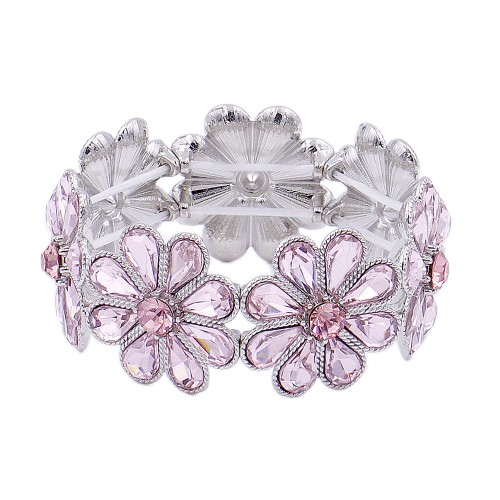 Rhoidum Plated With Pink Glass Stretch Flower Bracelets