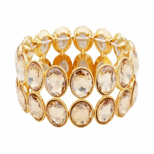 Gold Plated With Topaz Glass Two Rows Oval Stretch Bracelets