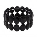 Jet Black Glass Two Rows Oval Stretch Bracelets