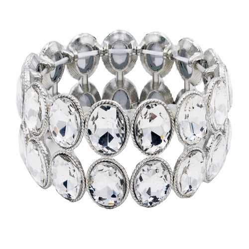 Rhodium Plated With Clear Glass Two Rows Oval Stretch Bracelets