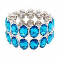 Rhodium Plated With Aqua Blue Glass Two Rows Oval Stretch Bracelets