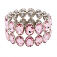 Rhodium Plated With Pink Glass Two Rows Oval Stretch Bracelets