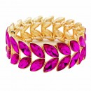 Gold Plated With AB Glass Two Row Stretch Bracelets