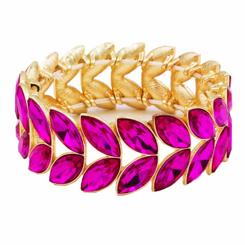 Gold Plated With Fuchsia Glass Two Row Stretch Bracelets