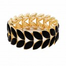 Gold Plated With Topaz Glass Two Row Stretch Bracelets