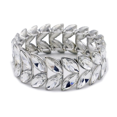 Rhodium Plated With Clear Glass Two Row Stretch Bracelets