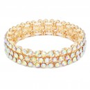 Rhodium Plated 3 Rows Mini Circle Glass Stretch Bracelet