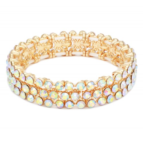 Gold Plated AB 3 Rows Mini Circle Stretch Bracelet