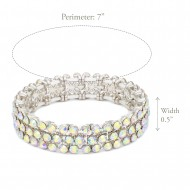 Rhodium Plated AB 3 Rows Mini Circle Glass Stretch Bracelet