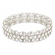 Rhodium Plated 3 Rows Mini Circle Glass Stretch Bracelet