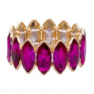 Gold Plated With Fuchsia Glass Stretch Bracelets