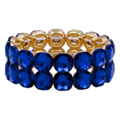 Gold Plated With Royal Blue Glass Stretch Bracelets