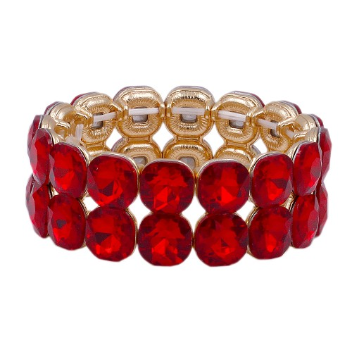 Gold Plated With Red Color Glass Stretch Bracelets
