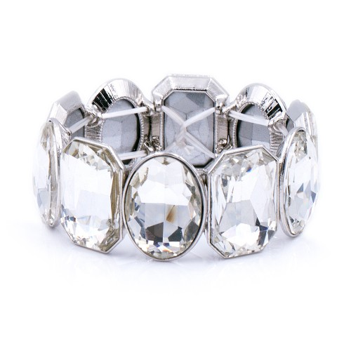 Rhodium Plated With Clear Glass Stretch Bracelets