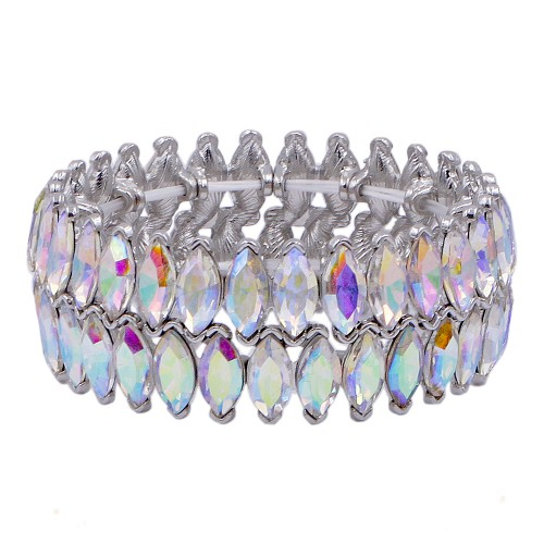 Rhodium Plated With AB Color Glass Stretch Bracelets