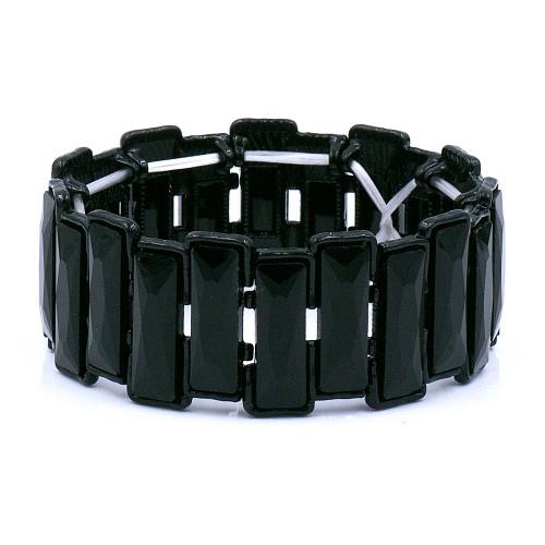 Jet black Color Glass Stretch Bracelets