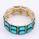 Gold Plated with Green AB Glass Stretch Bracelets