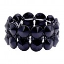 Jet Black Color Glass Stretch Bracelets