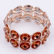 Rose Gold Plated with Peach Glass Stretch Bracelets