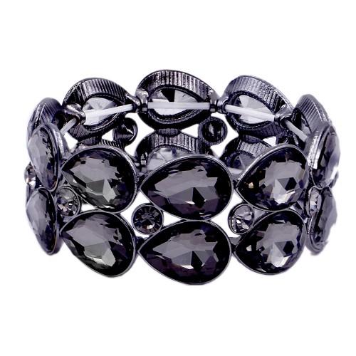 Gunmetal Plated with Black Diamond Glass Stretch Bracelets