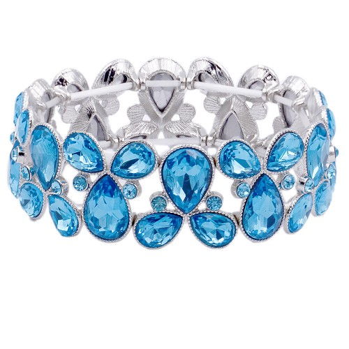 Rhodium Plated with Auqa Blue Glass Stretch Bracelets