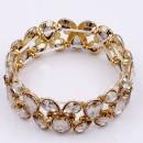 Gold Plated with Topaz Glass Stretch Bracelets