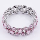 Rhodium Plated with Pink Glass Stretch Glass