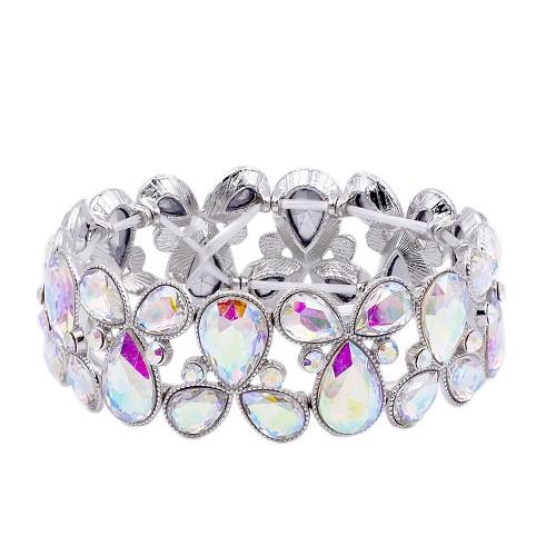 Rhodium Plated with AB Glass Stretch Bracelets