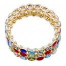 Gold Plated with Multi-Color Glass Stretch Bracelets