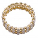 Gold Plated with Topaz Glass Stretch Bracelets