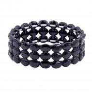 Jet Black Plated Glass Stretch Bracelets