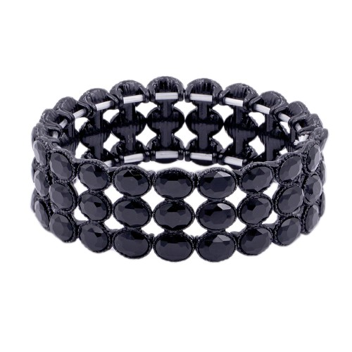 Jet Black Plated Glass Stretch Bracelets