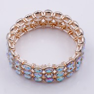 Rose Gold Plated with AB Glass Stretch Bracelets