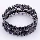 Gunmetal Plated with Black Diamond Glass Stretch Bracelets