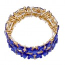 Gold Plated with Blue Glass Stretch Bracelets