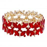 Gold Plated with Red Glass Stretch Bracelets