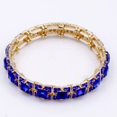 Gold Plated with Royal Blue Glass Stretch Bracelets