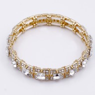 Gold Plated with Clear Glass Stretch Bracelets