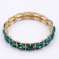 Gold Plated with Green Glass Stretch Bracelets