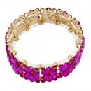 Gold Plated with Fuchsia Glass Stretch Bracelets
