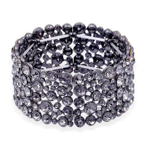 Gunmetal Plated w.Black Diamond Crystal Stretch Bracelet