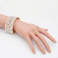 Gold Plated With Clear Crystal Stretch Bracelet