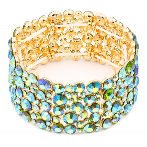 Gold Plated With Green AB Color Crystal Stretch Bracelet