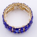 Gold Plated With Blue Color Stretch Bracelet