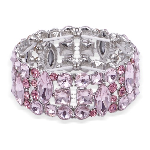 Rhodium Plated With Pink Color Crystal Stretch Bracelet